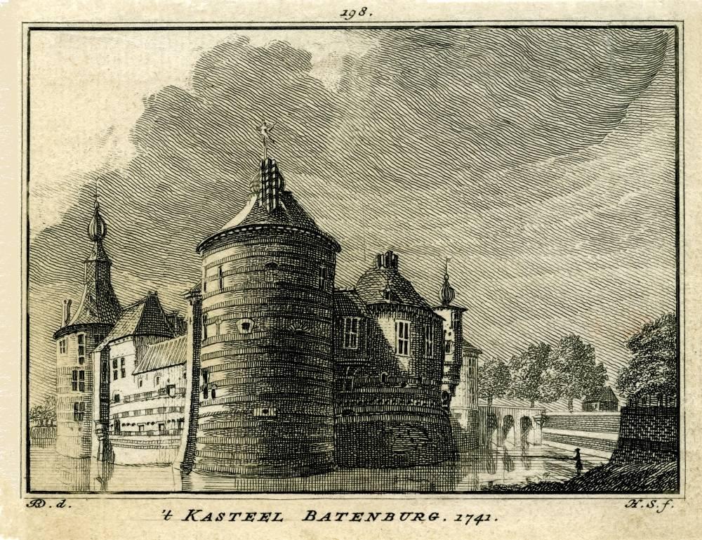 Ru�ne Batenburg in Batenburg. Tekening Jan de Beijer, gravure Hendrik Spilman (Uit: Het Verheerlykt Nederland, Isaac Tirion, 1745/1774)